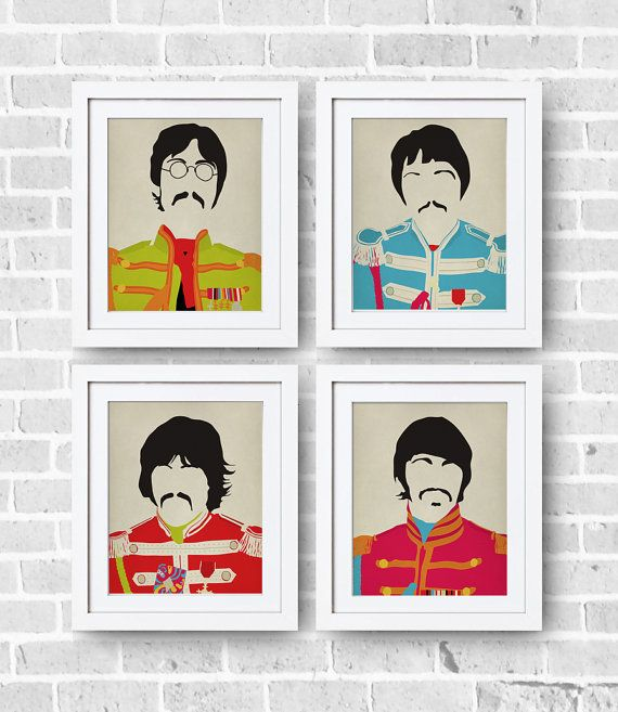 The Beatles Minimalist Set 8x10 Print The Beatles by DIGIartisan