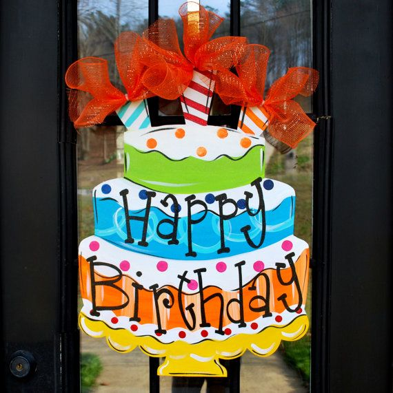Happy Birthday Sign Birthday Door Decor Happy by LooLeighsCharm, $48.00