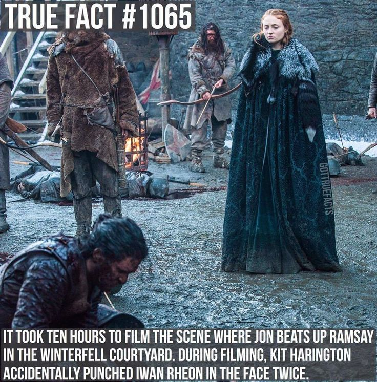 Sophie Turner as Sansa Stark, Kit Harington as Jon Snow and Iwan Rheon as Ramsay Bolton (GoT, season 6)