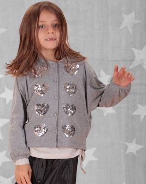 Paper Wings Sequin Hearts Embroidered Cardigan