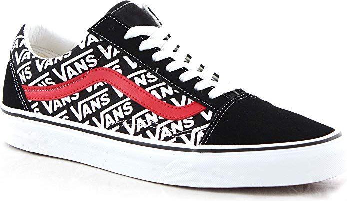 Vans Old Skool Sneakers Damen Herren Unisex Schwarz Weiss Rot Mit Vans Logo Vans Old Skool Vans Logo Schwarz Weiss Rot