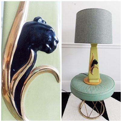 Mid Century ceramic table lamp / 1950s leopard by secreteyesonly