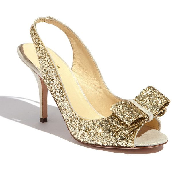 Kate Spade New York 'charm' slingback pump (425 AUD) ❤ liked on Polyvore featuring shoes, pumps, sling back shoes, satin pumps, satin shoes, glitter pumps and shiny shoes
