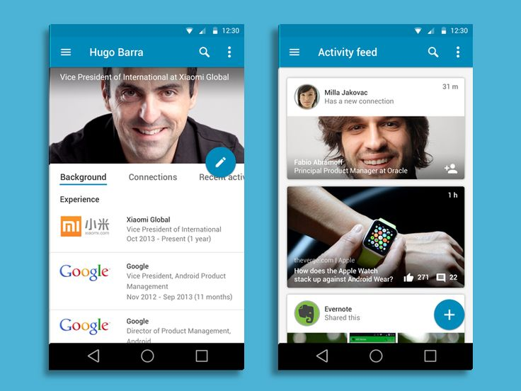 Linkedin for Android - Material Design by Rico Monteiro