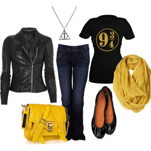 A Harry Potter inspired outfit. I'd wear this with just a plain black t-shirt to be sutel. But that 9 3/4 is awesome :)