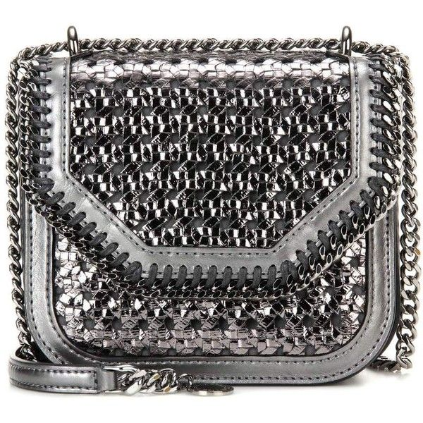 Stella McCartney Falabella Box Mini Shoulder Bag (4.185 RON) ❤ liked on Polyvore featuring bags, handbags, shoulder bags, bolsas, crossbody bags, silver, cross-body handbag, mini crossbody handbags, silver shoulder bag and silver handbags