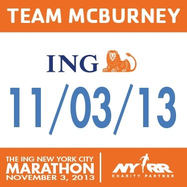 My Team McBurney is running in the 2013 ING Marathon raising funds for the Strong Kids Campaign!  They're Counting on Us... Contributions to the YMCA's annual Strong Kids Campaign ensure that no child or family is turned away from life-enhancing YMCA programs because of the inability to pay.