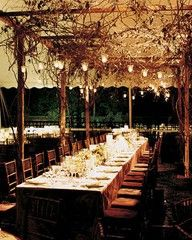 Branches over the dance floor...potentially with a a portico/post design rather than a hanging net?