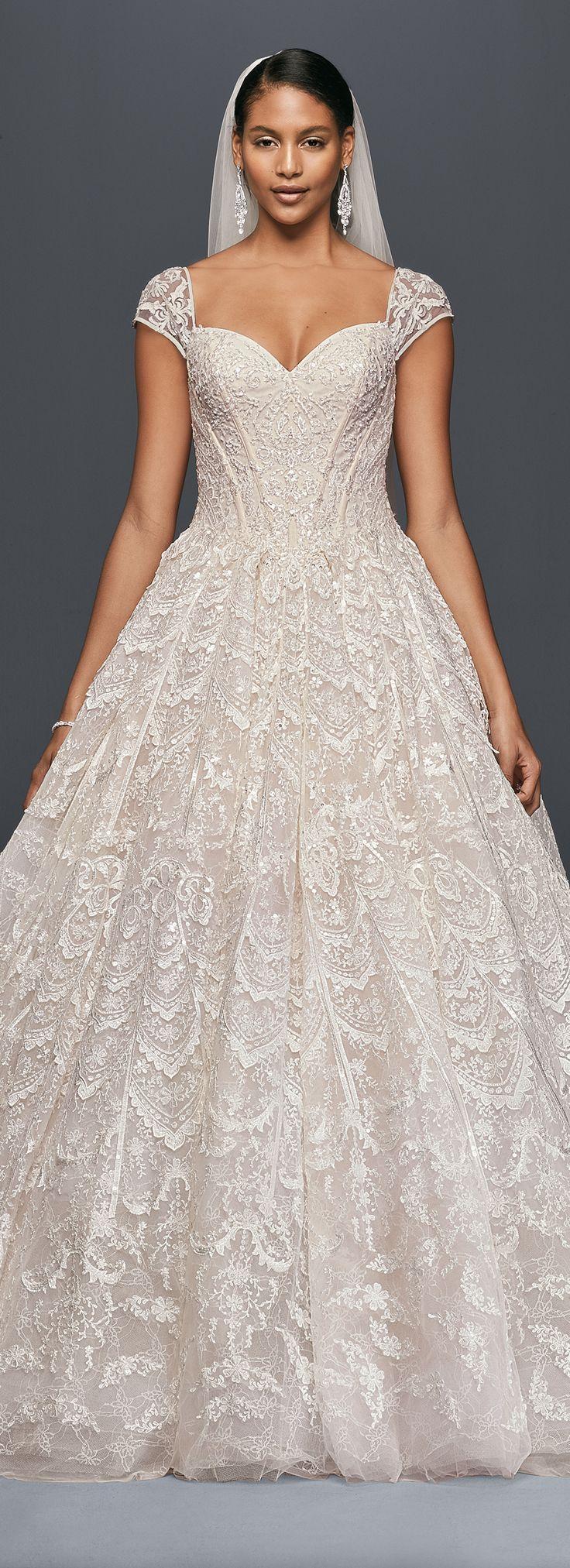 David's Bridal Spring 2017 Wedding Dress   Grand Lace Ball Gown with Beaded Cap Sleeves    #davidsbridal #OlegCassini #ad