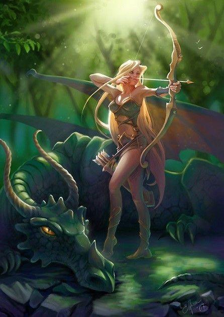 Elfe et son Dragon - Illustration de Julia Tarasenko