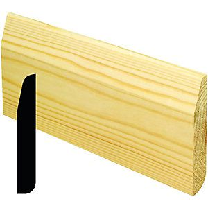 Wickes Dual Purpose Pine Large Round/Chamfered Skirting 15x95x2400mm Pack 4