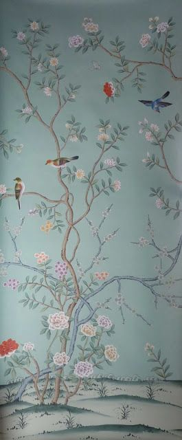 The Glam Pad: One Room Challenge Week Two Faux De Gournay paper made to specs for room - much much cheaper                                                                                                                                                                                 More