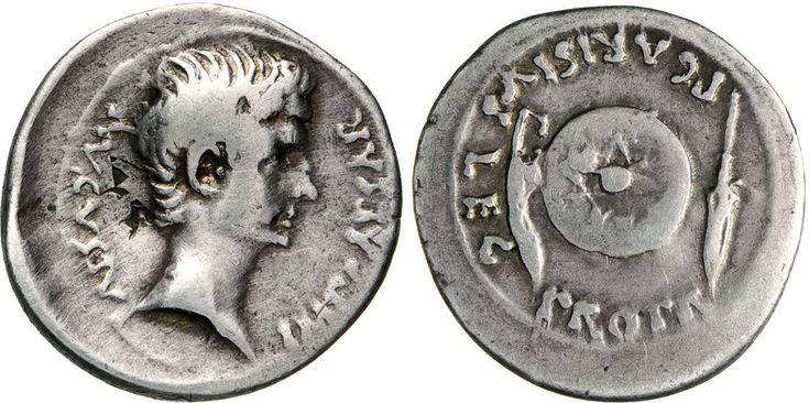 NumisBids: Numismatica Varesi s.a.s. Auction 65, Lot 133 : OTTAVIANO (25-22 a.C.) Denario. D/ Testa nuda R/ Punta di lancia,...