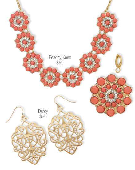 Peachy Keen Necklace and Darcy Earrings from the Premier Designs 2014 Spring Collection