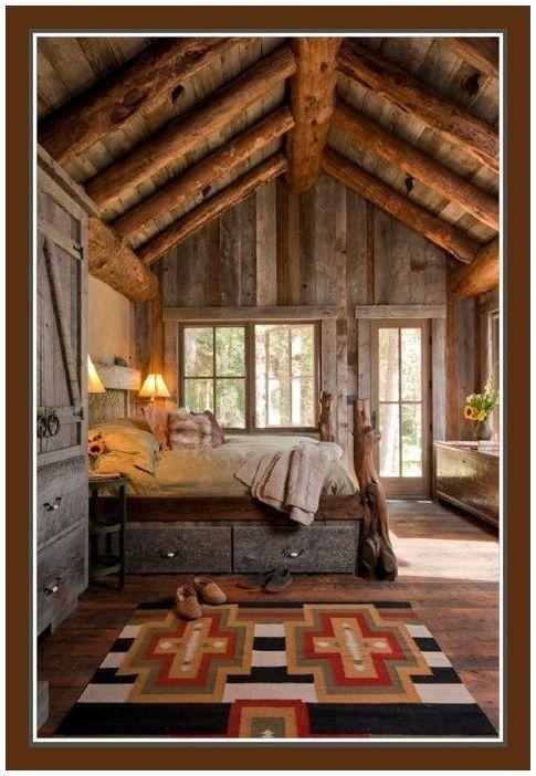 Rustic. Wooden. Love it.: Rustic Bedrooms, Idea, Decoration, Dream, Bedrooms Design, Cabin Bedrooms, Rustic Cabin, House, Logs Cabin
