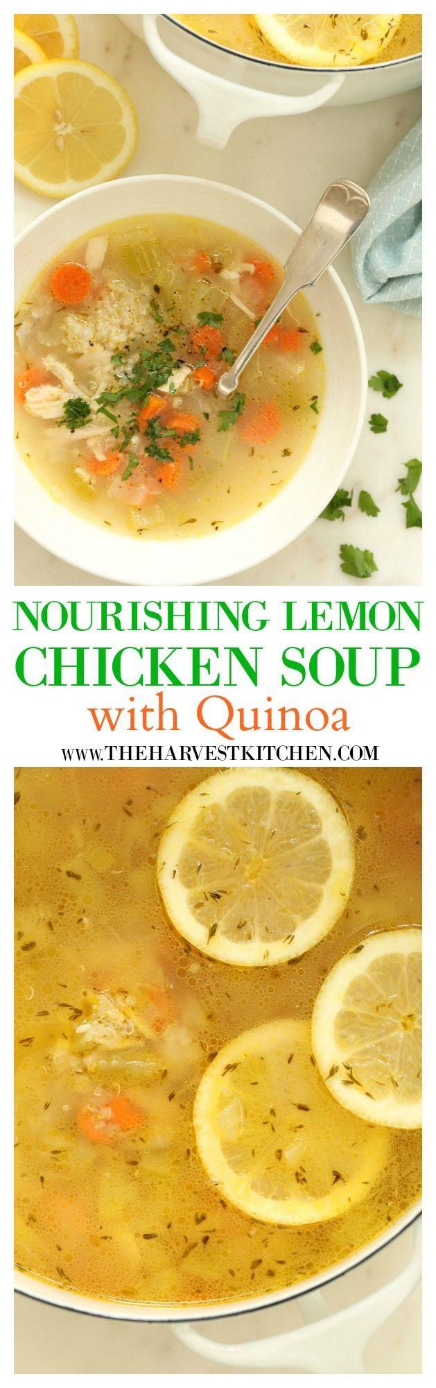 Nourishing Lemon Chicken + Quinoa Soup