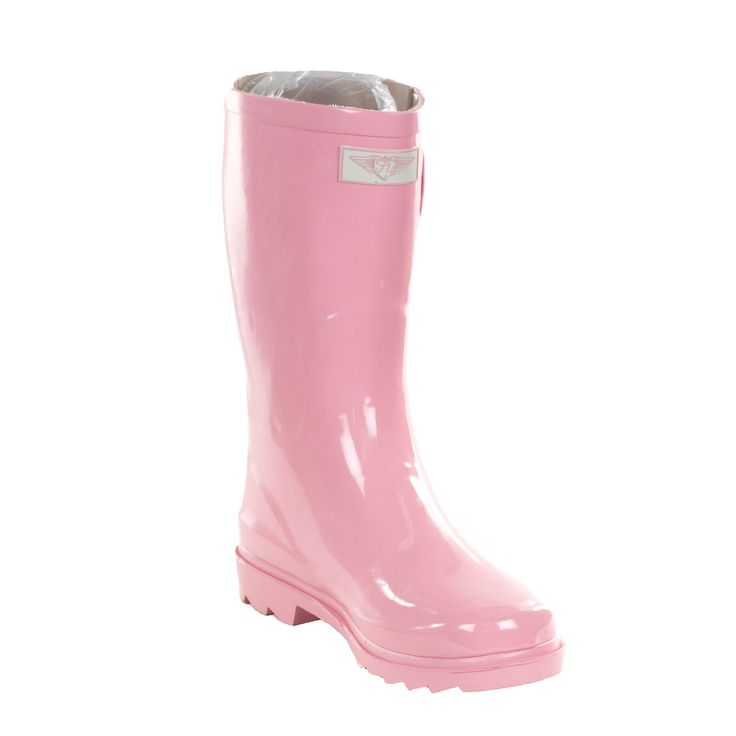 Keep your feet warm and fashionable when sloshing through the rain or snow in these mid-calf rain boots boasting a soft pink color. This pair of rain boots is crafted with rubber and features a low he