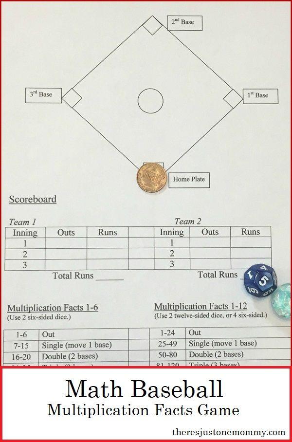 Math Baseball A Fun Way To Practice Multiplication Facts Math Fact Games Math Fact Practice Math Baseball