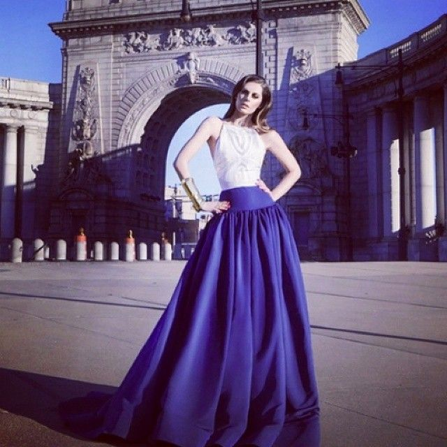 Stunning shot of @csiriano's navy and white ball gown from their Spring 2015 collection featured in the latest issue of Harper's Bazaar in Bulgaria. So chic! #igersbulgaria #Bulgaria #ballgown #blue #beauty #drama #designer #couture #luxury #bridetobe #fu