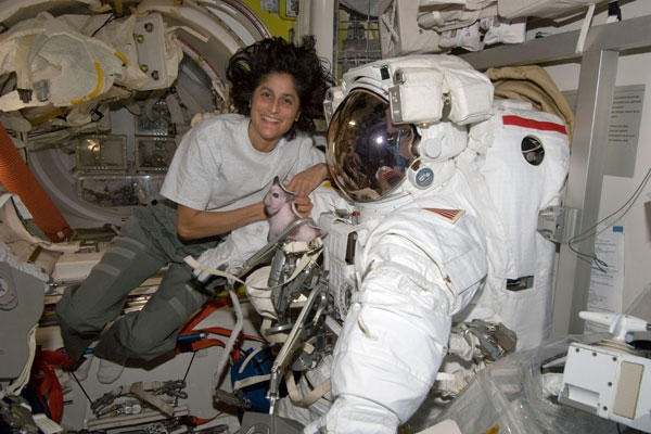 Record-setting female astronaut Williams 'psyched' to take command of ISS (+video) NASA astronaut Sunita Williams, who holds the record for the longest spaceflight by a woman, took charge of the International Space Station Saturday (Sept. 15, 2012), becoming only the second female commander in the orbiting lab's 14-year history.