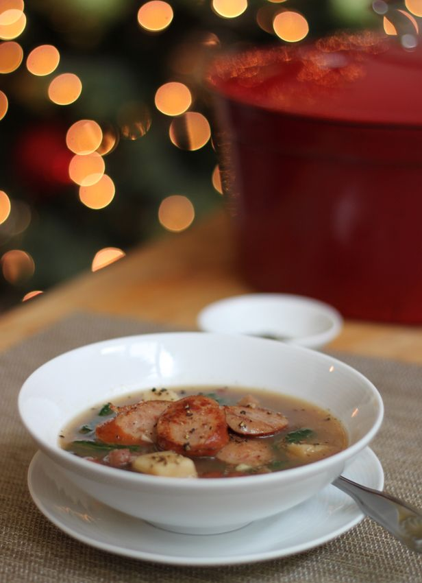 Alton Brown's Christmas Soup | has kielbasa, kidney beans and potatoes.  Made it! Simple but tasty treat. I sub in spinach for the kale and use 1 or 1.5 tsp kosher salt