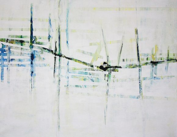 INTO THE HARBOUR  - LARGE ABSTRACT PAINTING on linen - WITH WHITE BLUE YELLOW - ROLLED FREE SHIPPING