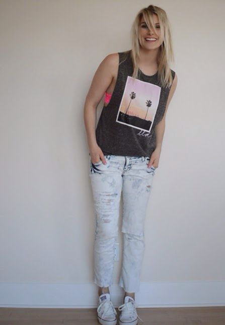 muscle tee and lace bralette, raw hem denim, converse chuck taylors