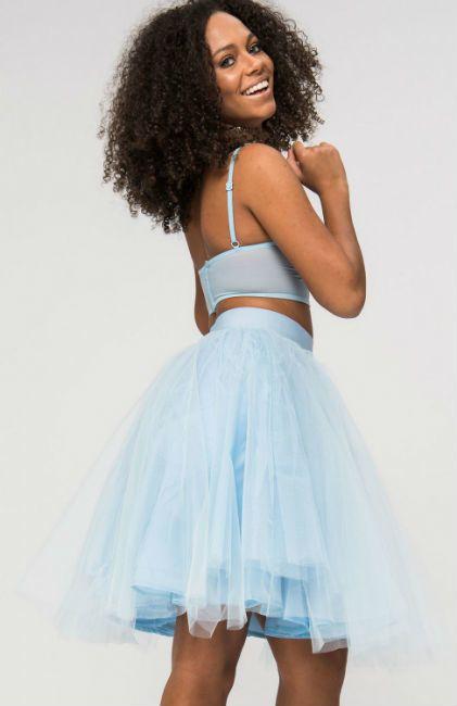Lichtblauwe tule rok