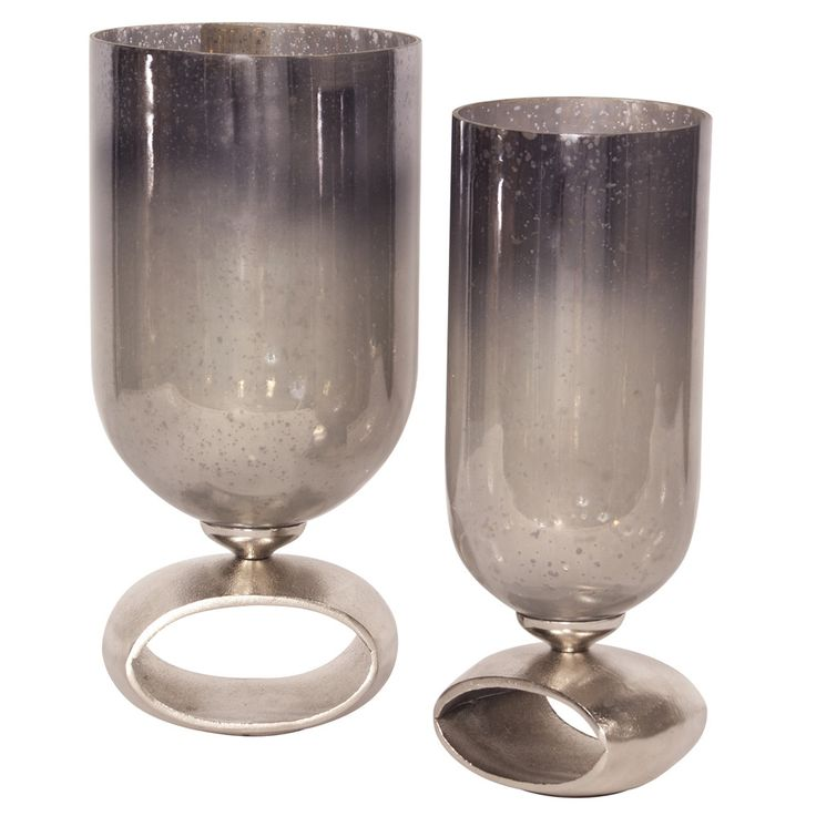 Blue-Gray Antiqued Hurricane Glass Holder - Home Accents