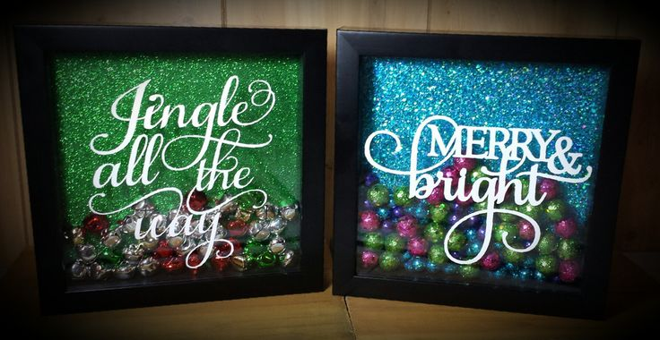 """8"""" x 8"""" Glitter Christmas Shadow Box - Kelly Belly Boo-tique"""