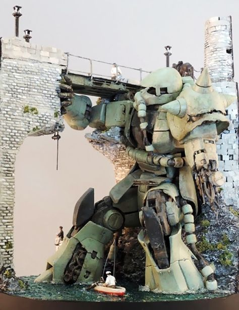 "GUNDAM GUY: RG 1/144 Zaku II Mass Production Unit ""Bridge of Olivia"" - Diorama Build"