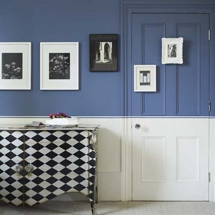 paint outside the lines!: Duct Tape, The Doors, White Dressers, Decor Ideas, Black And White, Color, White Wall, Half Paintings Wall, Blue And White