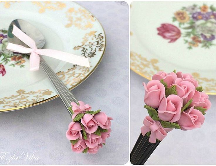 """""""В прошлом году делала ложечку не только с тюльпанами, но и с букетиком роз. На заказ можно сделать в любом цвете, цена будет 390руб на чайной ложке.…"""""""