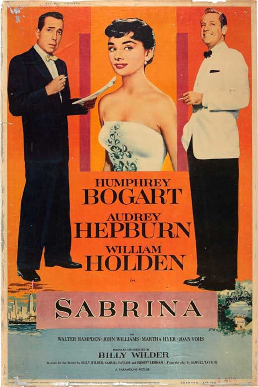 """""""Sabrina"""". Humphrey Bogart, Audrey Hepburn and William Holden. Directed by Billy Wilder, Paramount, 1954."""