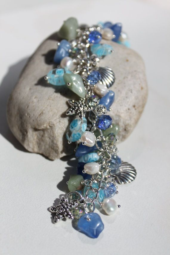 Ocean Blue Agate Gemstone and Pearls Silver Charm by studiogracie