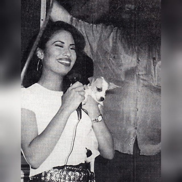 Selena with her dog chihuahua & You can see Mr. Q