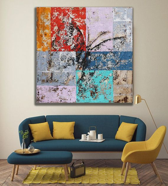 Original Abstract Colorful Butterfly Artwork with Silver Foil / Mixed Media Rustic Distressed Painting on Canvas / Coffee Shop Decor