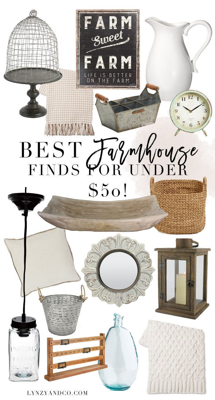 The best farmhouse finds for under $50! Add farmhouse accents to your home for an affordable price. Farmhouse Home decor