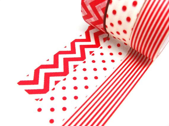 Stick on kraft paper bag with goodies inside. Red Polka Dots Red Stripes Red Chevron Washi Tape by chickydoddle, $2.50