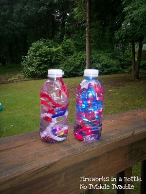 The perfect, easy patriotric craft for preschoolers: Fireworks in a Bottle by No Twiddle Twaddle