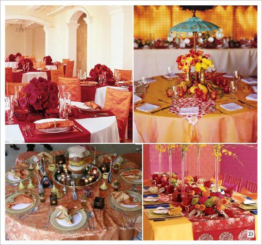Décoration façon Bollywood     http://www.decorationsdemariage.fr/images/stories/oriental/new_mariage_oriental/decorationsdemariage.fr_oriental_bolllywood_indien_milleetunenuits_decoration_table.jpg