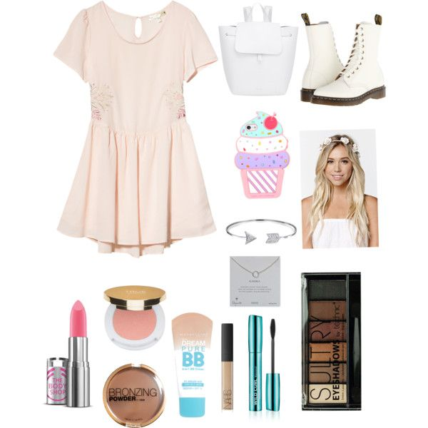 Cute by xpaolacristinax on Polyvore featuring polyvore, fashion, style, RHYTHM, Dr. Martens, Mansur Gavriel, Dogeared, Bling Jewelry, With Love From CA, Isaac Mizrahi, NARS Cosmetics, Boohoo, H&M and Maybelline