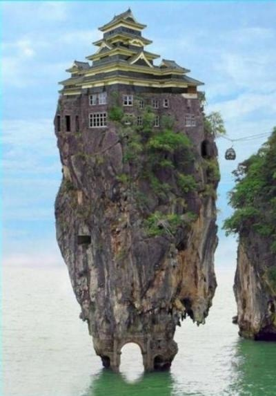 Unusual House with cable car access: Amazing, Unusual Homes, Dream, Rocks House, Islands, Architecture, Place, Crazy House, Unusual House