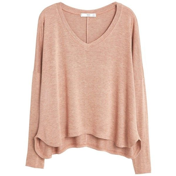 Mango Flecked V-Neck T-Shirt, Nude found on Polyvore featuring tops, sweaters, shirts, long sleeves, sleeve shirt, red top, red v neck shirt, red shirt and red v neck sweater