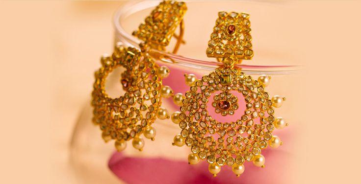 uncut diamond Tanishq - jewellery - Gold earring .. so splendid perfect for a bride !