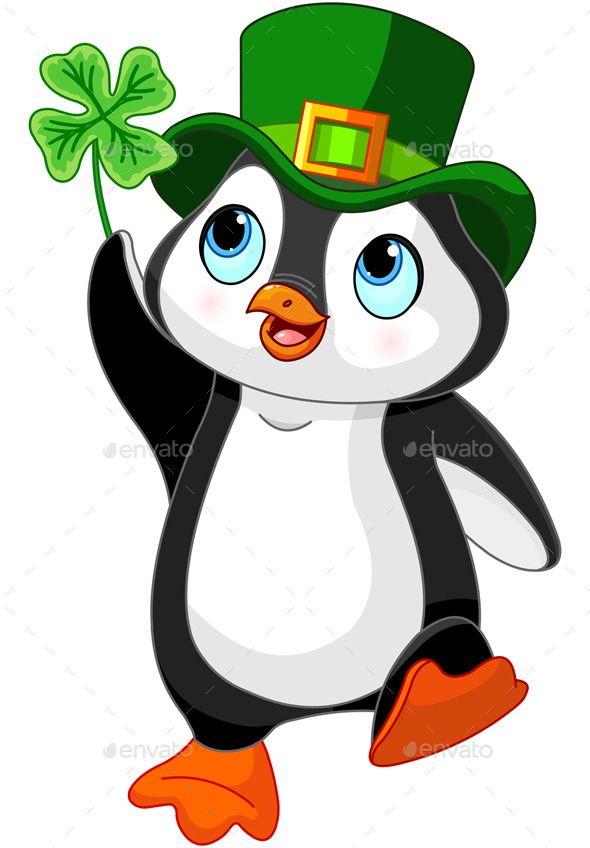 Penguin Celebrates Saint Patrick Day Baby Cartoon Baby Penguins Penguin Cartoon