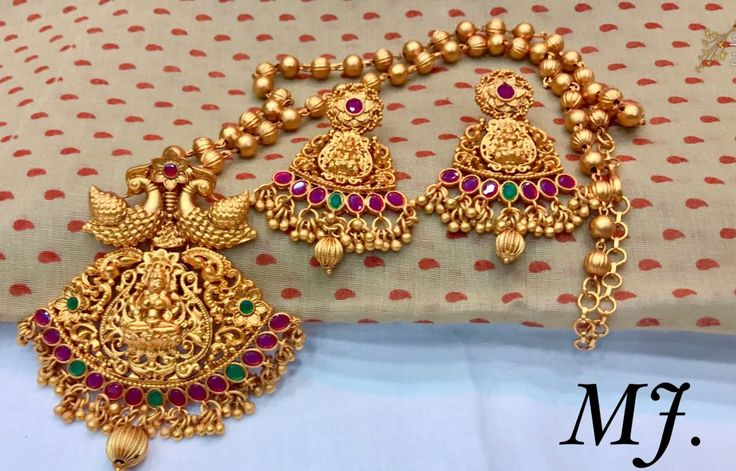 South Indian jewellery : Matt Finish Pendant Set With Earrings| Matt Finish... 9703870603