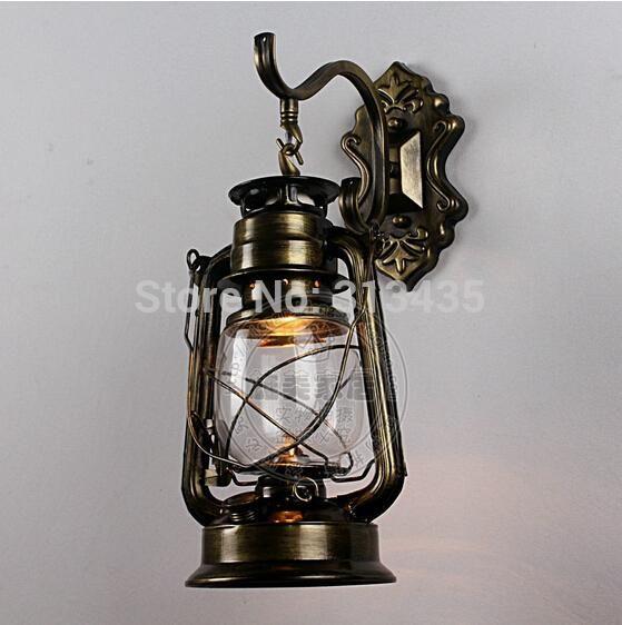 Wall lamps black copper bronze Vintage lantern wall lamp personalized kerosene lamp fashion iron wall lamp wall lights(China (Mainland))