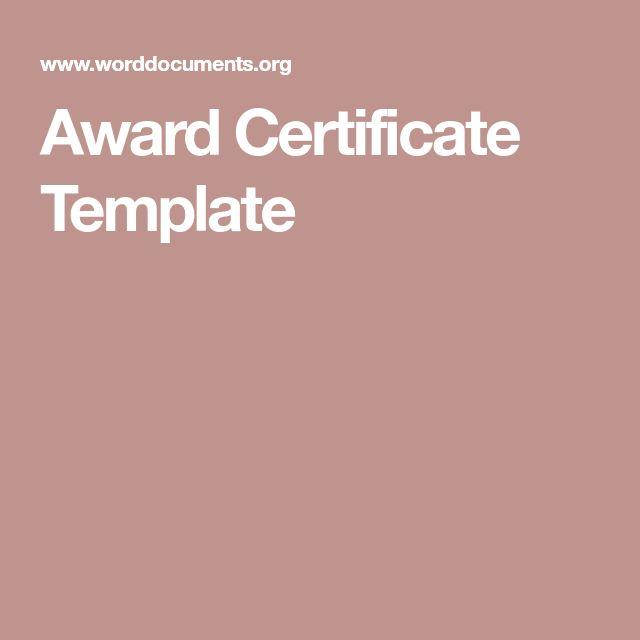 The 25+ best Award certificates ideas on Pinterest Award - award certificate template word