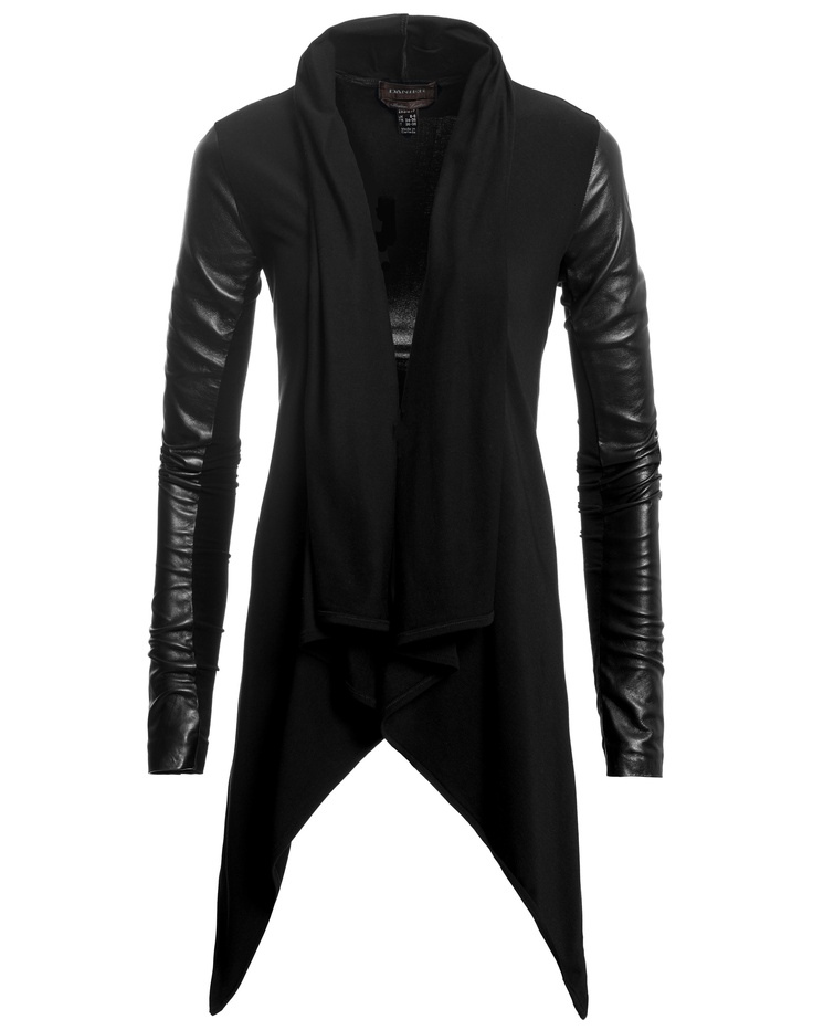 Danier | Leather-Sleeved Cardigan